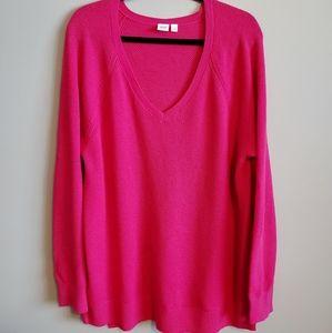 Gap V-neck pullover sweater, bright pink XXL,